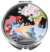 Compact mirror, mother of pearl gift. Carps