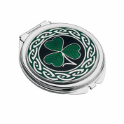 Handmade Fine Glass Enamelled Shamrock Celtic Compact Mirror