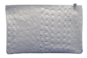"""'Slingbag """"Marie Make-Up Bag made of genuine leather in crocodile skin look/Selection of Colours, White (Grey) - Marie weiss"""
