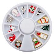 Hjuns Novelty Mixed 3D Christmas Nail Art Decal Nail Stickers Alloy Glitters DIY Decoration Wonderful Xmas Gift
