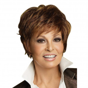 Highdas Fashion Beautiful Short Wig Brown Straight Synthetic Mix Wigs Full Wigs For Woman