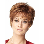 Highdas Fashion Beautiful Short Wig Light Gold Straight Synthetic Mix Wigs Full Wigs For Woman