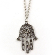 BODYA Retro Fashion Women Silver Hamsa Fatima Hand Charm Pendant Clavicle Chain Necklace Jewellery