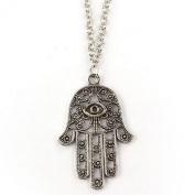 BODYA Retro Fashion Women Silver Hamsa Fatima Hand Charm Pendant Clavicle Chain Necklace Jewellery