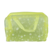 Teenxful PVC Floral Print Translucent Crystal Waterproof Toiletry Bag Travelling Bath Bag, Yellow
