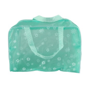 Teenxful PVC Floral Print Translucent Crystal Waterproof Toiletry Bag Travelling Bath Bag, Green