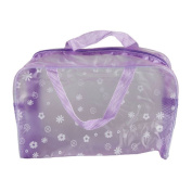 Teenxful PVC Floral Print Translucent Crystal Waterproof Toiletry Bag Travelling Bath Bag, Purple