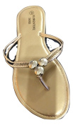 FLORENTINE (Style 3) Gold Beaded Flip Flop Sandal - Sizes 3 to 8