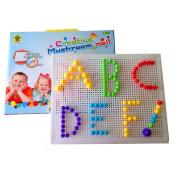 Fajiabao 184PCS Colourful Creative Mushroom Nails Pegboard Jigsaw Puzzle Game building blocks Toys Set Birthday Christmas Gift for Boys Girls Kids