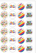 24 Precut Bright Happy Birthday Edible Cupcake Toppers Decorations