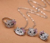 Rumy's Boutique Set of 3 Beautiful Extra Sparkly Crystal Hello Kitty Ring Earrings Necklace Gift Set