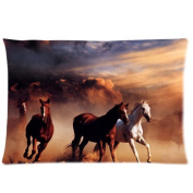 New Design Soft Zippered Pillowcase Pillow case Cover 16*60cm (Twin Sizes) Running Horses Fashion Design