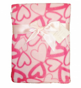 Supersoft Superior Luxurious Quality Pink With Large Hearts Pram/Crib Blanket