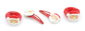 Zest 4 Sparkly Santa Hair Accessories 2 Santa Hair Clips & 2 Ponios