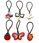6 pcs Insects and Birds Set of Elastic Hair Bands Hairband Hairbands Ponytail Holders