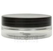 10 x 50mL CLEAR PLASTIC PET COSMETIC SQUAT JARS w/ BLACK SCREW LIDS for Creams/Liquids/Make Up/Travel/Oils