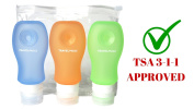 Travel Bottles Silicone 3 Pack Set with Toiletry Bag (TSA Approved) - Squeezable & Refillable Containers For Shampoo, Conditioner, Lotion, Toiletries