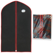 """Hangerworld Pack of 3 Black & Red Vinyl Garment Suit Jacket Clothes Cover Protector Bags - 40"""""""