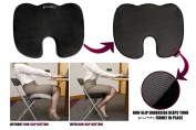 Cush Comfort Non-Slip Memory Foam Seat Cushion - Spinal Alignment Chair Pad for Relief from Sitting Back Pain