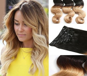 New Arrival Clip in Ombre Hair Extensions Body Wave 100% Brazilian Virgin Human Hair 7pcs 70g