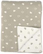 DARZZI Baby Heart Baby Blanket, Stone/Natural, 90cm x 110cm