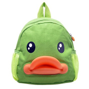 BuyHere Cute Duck Unisex Kids Backpack,Green