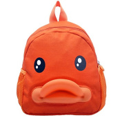 BuyHere Cute Duck Unisex Kids Backpack,Orange