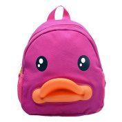 BuyHere Cute Duck Unisex Kids Backpack,Rose Red