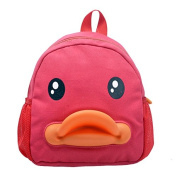 BuyHere Cute Duck Unisex Kids Backpack,Red