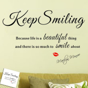 OneHouse Marilyn Monroe Keep Smiling - WALL STICKER DECAL QUOTE with Red Lip Print ART MURAL