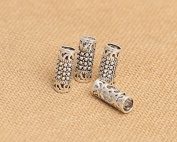 Luoyi 2pcs Vintage Thai Sterling Silver Beads, Tube with Mosaics Pattern, 15*6mm, Hole:4.5mm