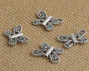 Luoyi 10pcs Vintage Thai Sterling Silver Beads, Butterfly Tube Beads, 9*13*2mm, Hole:0.8mm