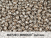 10gr Czech Two Hole Seed Beads MiniDuo 2x4 mm Pastel Lt. Brown/Coco