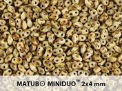 10gr Czech Two Hole Seed Beads MiniDuo 2x4 mm Chalk Travertine Dark Matte