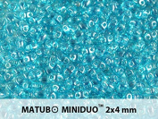 10gr Czech Two Hole Seed Beads MiniDuo 2x4 mm Aquamarine White Lustre