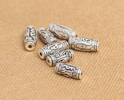 Luoyi Vintage Thai Sterling Silver Beads, Tube with Mantra Carved (Y006G)