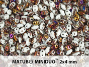 10gr Czech Two Hole Seed Beads MiniDuo 2x4 mm Crystal Vitrail Matte