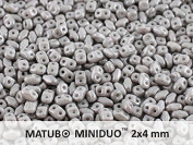 10gr Czech Two Hole Seed Beads MiniDuo 2x4 mm Chalk Jet Lustre