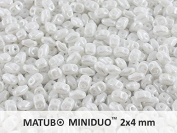 10gr Czech Two Hole Seed Beads MiniDuo 2x4 mm Chalk White Lustre