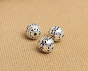 Luoyi 10mm Vintage Thai Sterling Silver Beads, Round with Wave Pattern, Spacer Beads, DIY Jewellery