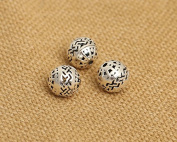 Luoyi Vintage Thai Sterling Silver Beads, Round with Wave Pattern, Spacer Beads, DIY
