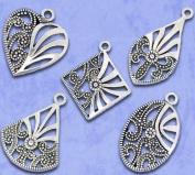28 PC Filigree Silver Tone Charm Pendant Mix, Jewellery Making DIY, 26x20mm