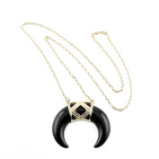 2 PCS Fashion Jewellery Necklace Long Chain Pendent Sweater Collar Bib Choker Collier Black Horn Half Moon