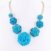 2 PCS Fashion Jewellery Necklace Long Chain Pendent Sweater Collar Bib Choker Collier Blue Roses