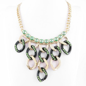 2 PCS Fashion Jewellery Necklace Long Chain Pendent Sweater Collar Bib Choker Collier Green Crystal Tassels