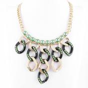 2 PCS Fashion Jewellery Necklace Long Chain Pendent Sweater Collar Bib Choker Collier Green Crystal Tassels