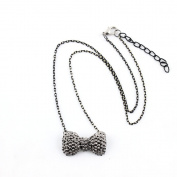 2 PCS Fashion Jewellery Necklace Long Chain Pendent Sweater Collar Bib Choker Collier Silver Lovely Full Bowtie