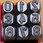 Metal Punch Number Stamps 9 pieces Set 0 to 9, Size 6.0mm