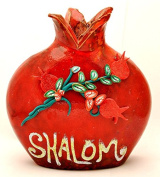 Shalom Red Pomegranate Hands Made Art Ceramic
