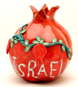 Israel In Silver Red Pomegranate Hands Made Art Ceramic